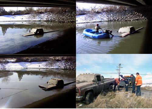 Cartow Towing Truck In River